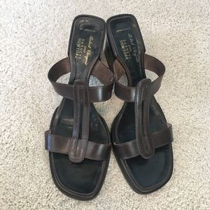 Robert Clergerie Mid-HL Brown Leather Sandals
